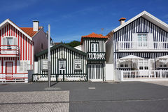 Striped colored houses, Costa Nova, Beira Litoral, Portugal, Eur Royalty Free Stock Photos