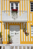 Striped colored houses, Costa Nova, Beira Litoral, Portugal, Eur. Detail of the house in famous resort Costa Nova on the Atlantic coast in Beira Litoral Royalty Free Stock Photo