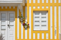 Striped colored houses, Costa Nova, Beira Litoral, Portugal, Eur. Detail of the house in famous resort Costa Nova on the Atlantic coast in Beira Litoral Stock Photography