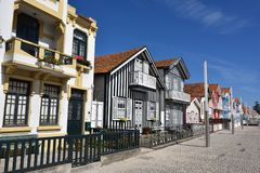 Striped colored houses, Costa Nova, Beira Litoral, Portugal, Eur Royalty Free Stock Image