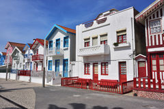 Striped colored houses, Costa Nova, Beira Litoral, Portugal, Eur Stock Photography