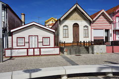 Striped colored houses, Costa Nova, Beira Litoral, Portugal, Eur Royalty Free Stock Photo