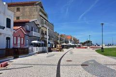 Striped colored houses, Costa Nova, Beira Litoral, Portugal, Eur Stock Photos