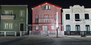 Striped colored houses at night, Costa Nova, Beira Litoral, Port Royalty Free Stock Photography