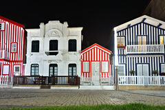 Striped colored houses at night, Costa Nova, Beira Litoral, Port Royalty Free Stock Images