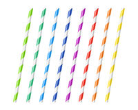 Striped colorful drinking straws Royalty Free Stock Image