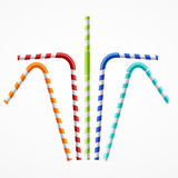 Striped Colorful Drinking Straws Set. Vector Royalty Free Stock Images