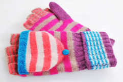 Striped colorful mittens fashion accessories.Wool glove fingerless. Striped colorful mittens fashion accessories.  on white background Royalty Free Stock Photo