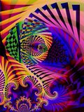 Striped Colors Abstract Art. Abstract digital art collage of textures, lines, swirls, spirals, colors and more stock image
