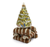 Striped cookies and cristmas tree Royalty Free Stock Image