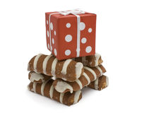 Striped cookies and gift box Royalty Free Stock Photography