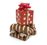 Striped cookiesand gift box Stock Images