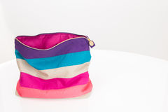 Striped cosmetic bag Stock Photo