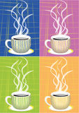 Striped cups. Four color striped cups on square background Stock Photo