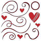 Striped curls and hearts Royalty Free Stock Images