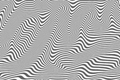 Striped curved abstract monochrome pattern vector illustration