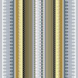 Striped 3d greek borders vector seamless pattern. Abstract modern ornamental gold silver background. Ornate geometric ornaments with vertical patterned greek Royalty Free Stock Photo