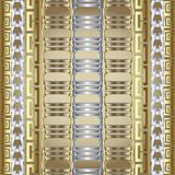 Striped 3d greek vector seamless border pattern. Gold silver mod. Er abstract background. Stripes, braided shapes, chains, greek key, meander vertical borders stock illustration