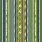 Striped 3d greek vector seamless pattern. Colorful dotted line ornamental background. Textured repeat borders backdrop. Vertical. Stripes, dots, lines, waves vector illustration