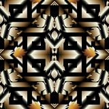 Striped 3d meander greek key seamless pattern. Vector black gold. 3d geometric background. Modern surface wallpaper. Baroque style floral ornament, leaves Royalty Free Stock Photo
