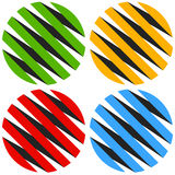 Striped 3d spheres, orbs. Sphere icons, abstract sphere logos. Royalty free vector illustration Stock Photos