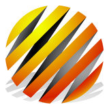 Striped 3d spheres, orbs. Sphere icons, abstract sphere logos. Royalty free vector illustration Royalty Free Stock Photos