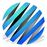 Striped 3d spheres, orbs. Sphere icons, abstract sphere logos. Royalty free vector illustration Royalty Free Stock Photo