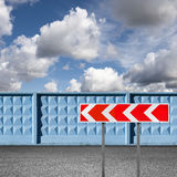 Striped dangerous turn road sign Royalty Free Stock Photography