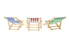 Striped deck chairs Royalty Free Stock Images