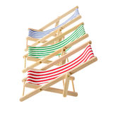Striped deck chairs Royalty Free Stock Photos