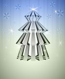 Striped dimensional tree on cool blue silver Royalty Free Stock Photo