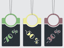 Striped discount labels hanging Royalty Free Stock Image