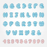 Striped doodle font and numbers Royalty Free Stock Photos