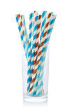 Striped drink straws of different colors Royalty Free Stock Photography