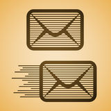 Striped e-mail envelope icon Stock Images