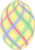 Striped Easter Egg. Yellow Easter egg with pastel blue, pink and green stripes Stock Photography