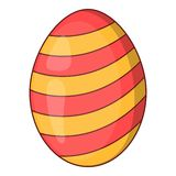 Striped easter egg icon, cartoon style. Striped easter egg icon. Cartoon illustration of striped easter egg vector icon for web Royalty Free Stock Photo