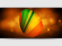 Striped Easter egg over glowing golden panel. 3D Illustration of Striped Easter Egg Over Golden Glowing Panel Stock Photo
