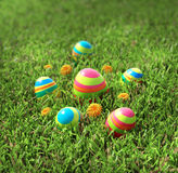 Striped easter eggs Stock Photo