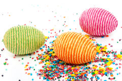 Striped eggs Stock Photos