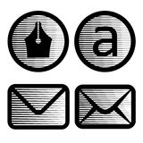 Striped email symbols Stock Image