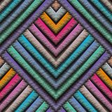 Striped embroidery 3d geometric seamless pattern. Vector abstrac. T geometrical grunge background. Colorful tapestry stripes, geometry shapes, zigzag, rhombus Royalty Free Illustration