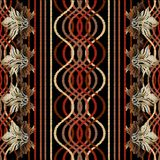 Striped embroidery geometric seamless pattern. Vector abstract t. Apestry background. Vintage embroidered floral Baroque borders. Grunge stripes, waves, shapes stock illustration
