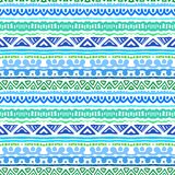 Striped Ethnic Pattern In Vibrant Blue And Green Royalty Free Stock Photo