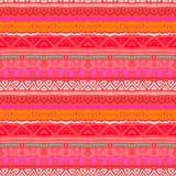 Striped ethnic pattern in vibrant red orange Stock Photography