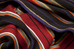 Striped Fabric. Red and Black Striped Fabric Scarf Stock Photo