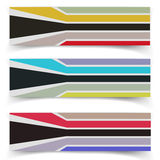 Striped fabric textured vector banners Stock Image