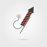 Striped firework rocket icon with shadow. Concept of New Year celebrations, fun party and pyrotechnics. isolated on grey stylish background. logo design modern Stock Image