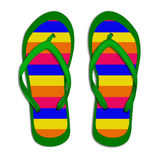Striped flip flops. On a white background Stock Image
