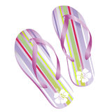 Striped flipflops. Realistic vector-illustration of a pair of colorful striped beach-sandals Royalty Free Stock Images